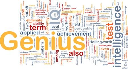 psychologists: Background concept wordcloud illustration of genius intelligence IQ Stock Photo