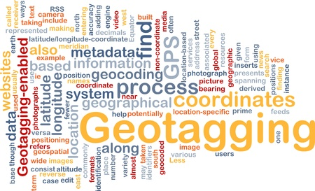 coordinates: Background concept wordcloud illustration of GPS geotagging coordinates Stock Photo