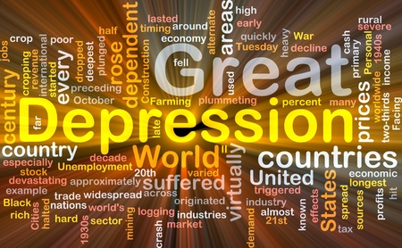 Software package box Word cloud concept illustration of Great Depression Stock Photo