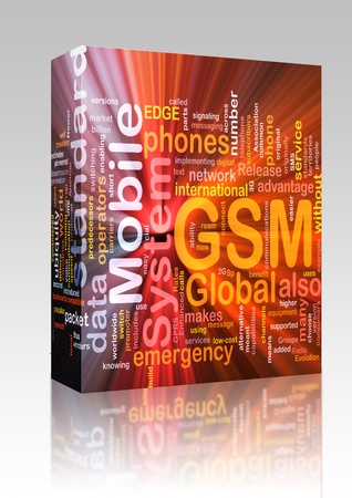 gsm phone: Software package box Word cloud concept illustration of phone GSM glowing light effect  Stock Photo