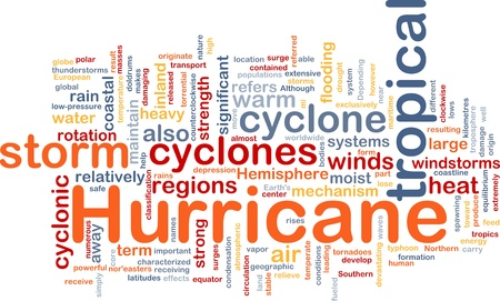Background concept wordcloud illustration of hurrican cyclone weather Stock Illustration - 8635219