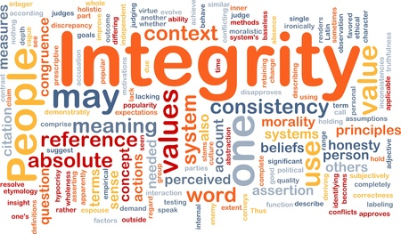perceived: Background concept wordcloud illustration of integrity principles values Stock Photo
