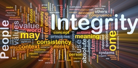 Background concept wordcloud illustration of integrity principles values glowing light Stock Illustration - 8635449