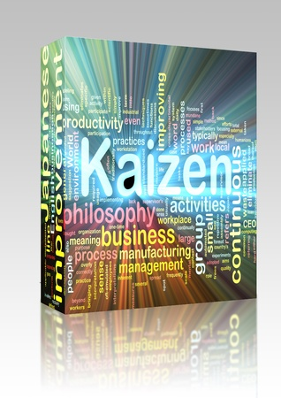 Software package box Word cloud concept illustration of kaizen improvement glowing light effect  illustration