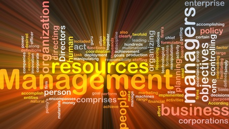 entities: Word cloud concept illustration of business management glowing light effect