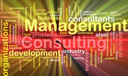consultant: Word cloud concept illustration of management consulting glowing light effect