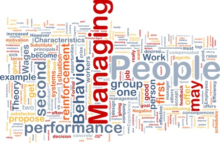 managing: Background concept wordcloud illustration of business managing people Stock Photo
