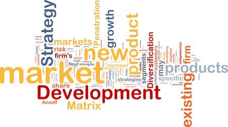 Background concept wordcloud illustration of new market development illustration