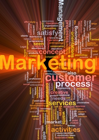Word cloud concept illustration of marketing process glowing light effect Stock Illustration - 8635450