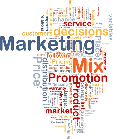 marketing mix: Background concept wordcloud illustration of marketing mix strategy Stock Photo