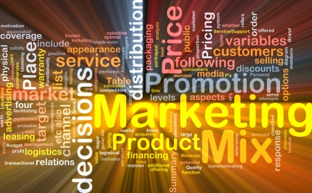 product mix: Background concept wordcloud illustration of marketing mix strategy glowing light