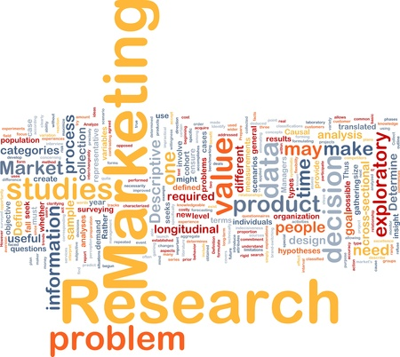 exploratory: Background concept wordcloud illustration of marketing research strategy Stock Photo