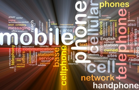 telephony: Software package box Word cloud concept illustration of mobile phone