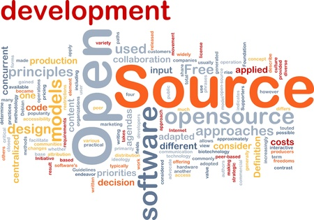 Background concept wordcloud illustration of open source license illustration