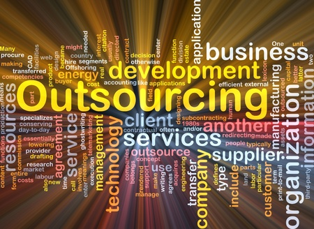 outsourcing: Software package box Word cloud concept illustration of business outsourcing