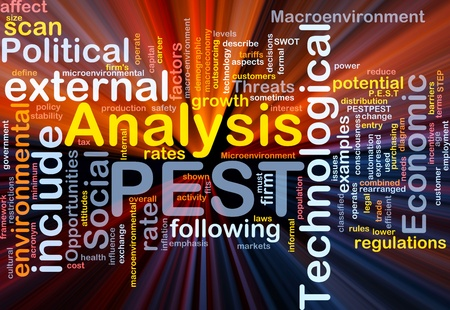 macroeconomic: Background concept wordcloud illustration of business PEST analysis glowing light Stock Photo