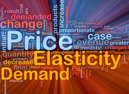 Background concept wordcloud illustration of price elasticity demand glowing light