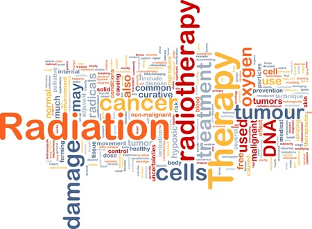 radiotherapy: Background concept wordcloud illustration of medical radiation therapy Stock Photo