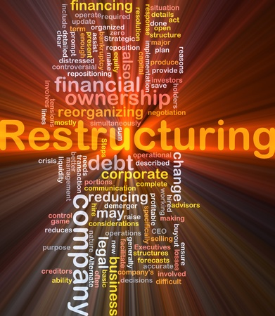 operational definition: Software package box Word cloud concept illustration of company restructuring Stock Photo
