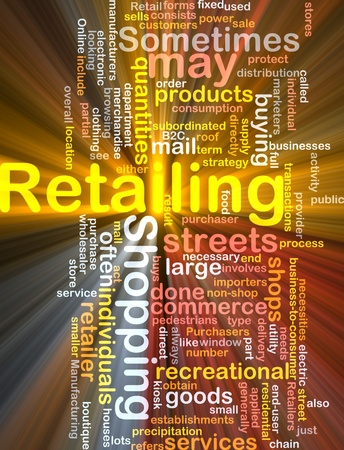 retailing: Software package box Word cloud concept illustration of retailing retail