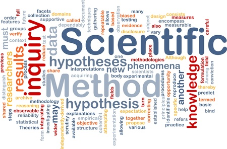 hypotheses: Background concept wordcloud illustration of scientific method research Stock Photo