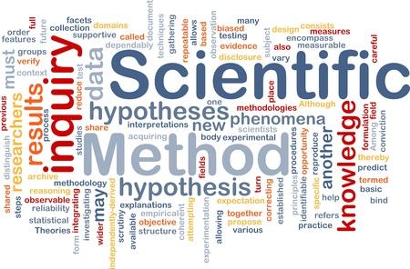 hipotesis: Ilustración de wordcloud concepto de fondo de investigación del método científico Foto de archivo