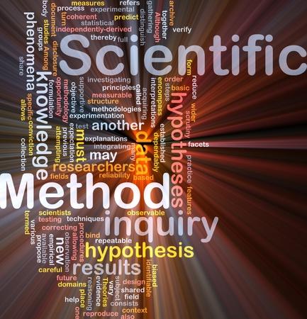 hypothesis: Ilustraci�n de wordcloud de concepto de fondo del m�todo cient�fico de investigaci�n luz brillante Foto de archivo