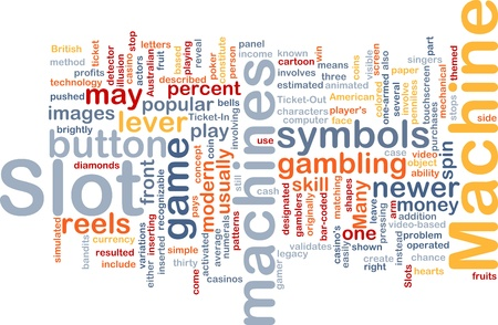 Background concept wordcloud illustration of slot machine gambling illustration