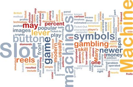Background concept wordcloud illustration of slot machine gambling illustration