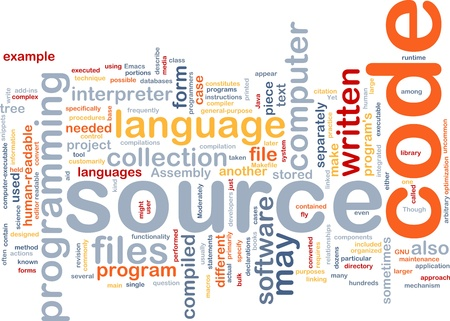 Background concept wordcloud illustration of source code programming Stock Illustration - 8635164