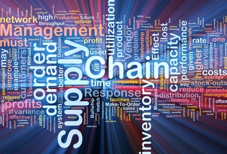 vendors: Background concept wordcloud illustration of business supply chain glowing light Stock Photo
