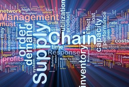 cadenas: Ilustraci�n de wordcloud de concepto de fondo de luz brillante de cadena de suministro de negocio