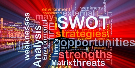 Background concept wordcloud illustration of business SWOT analysis glowing light illustration