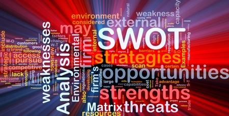 swot: Sfondo concetto wordcloud illustrazione di luce incandescente di business SWOT analysis