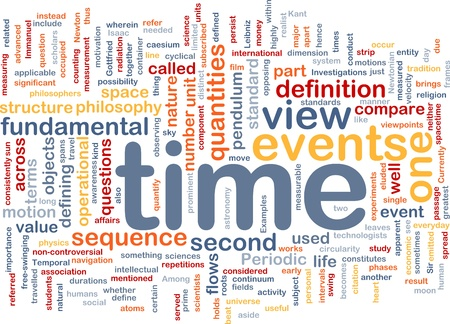operational definition: Background concept wordcloud illustration of Time events structure