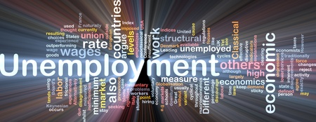 minimum wage: Software package box Word cloud concept illustration of unemployment work