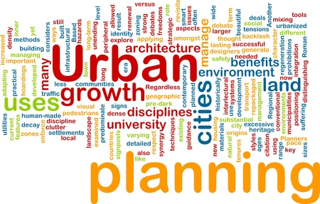 manage clutter: Urban planning background concept Stock Photo