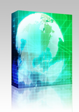 Software package box International global finance trends background abstract illustration  illustration
