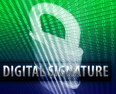 Online computer security digital signature illustration with locked padlock illustration