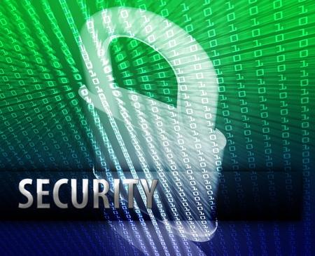 Online computer security illustration with locked padlock Stock Illustration - 8635679