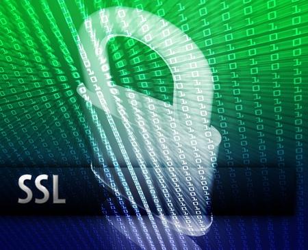 Online computer security ssl illustration with locked padlock illustration