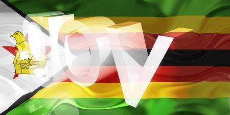 gov: Flag of Zimbabwe, national country symbol illustration wavy gov government website Stock Photo