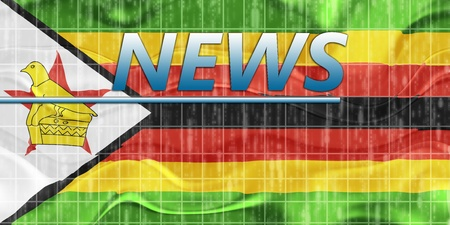newsflash: News information splash Flag of Zimbabwe, national country symbol illustration wavy