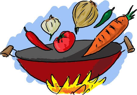 wok: Asian vegetarian chinese wok cooking cuisine illustration