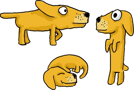 begging: Cartoon active dog funny illustration in various poses