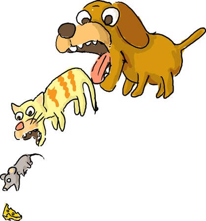bigger: Circle of life illustration with cute cartoon pet animals Stock Photo