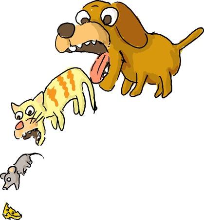 Circle of life illustration with cute cartoon pet animals Stock Photo