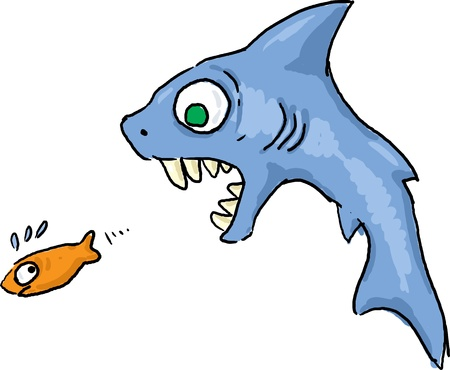 feeding: Shark chasing fish escape from death cartoon illustration