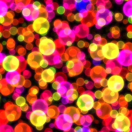 newyear night: Bokeh glowing light circles shining abstract seamless background texture Stock Photo