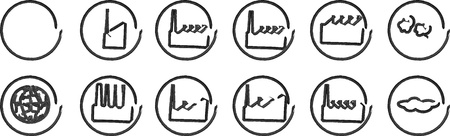 Factory manufacturing industry icons whiteboard hand-drawn sketch style illustration illustration